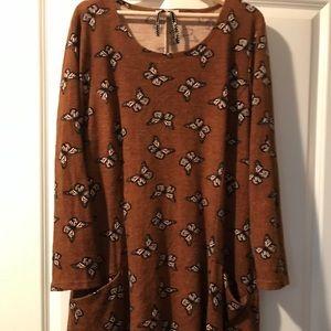 ModCloth Brown Butterfly Dress w/ Pockets Size 2X